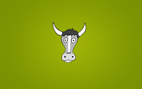 minimalism, animal, goggle-eyed, head, green background, Horn, cow