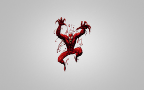 red creature, spiderman, gray background
