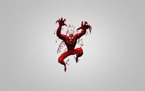 красное существо, человек-паук, серый фон