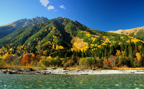 autumn, River, Mountains, forest