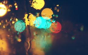 капли, свет, размытый, дождь, стекло