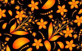 узор, цветы, стебель, цветок, оранжевый