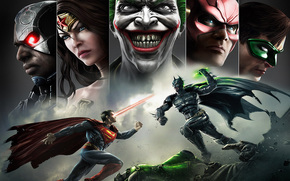 oker, улыбка, batman, injustice: gods among us, superman, wonder women, green lantern, flash