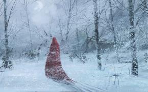 Los rboles, Arte, rojo, manto de, nieve, invierno, bosque, la figura