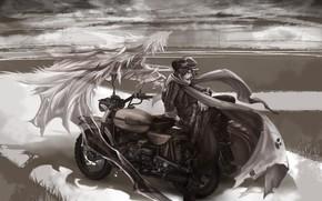 motocicletta, strada, tipo, Arte, monocromatico, spirito, mantello