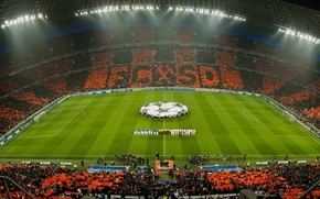 Donbass Arena, Fuball, UCL, Fans, Feld, Bergmann, Chelsea, orange, entsprechen, Champions League