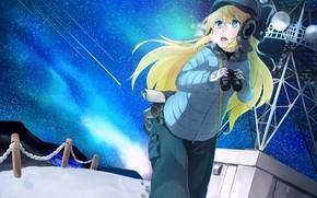 snow, Winter, binoculars, cold, Art, girl, Star, antenna