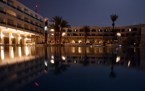 resort, lights, water, Tunisia, night, Palms, South