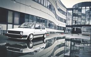 acqua, riflessione, golf, Volkswagen, Volkswagen, pozzanghera