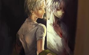 арт, рана, парень, рубашка, отражение