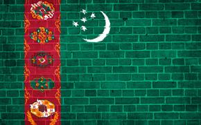 Bricks, Star, wall, flag, Turkmenistan, texture