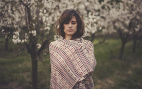 wallpaper, background, coldly, girl, Mood, Trees, face, blanket, sheet, nature