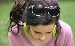glasses, brunette, background, wallpaper, face, mood. girl