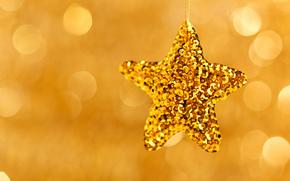 новогодняя, звезда, елочная, игрушка, золотая, праздники, боке