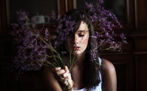 Flowers, flowers, girl, nice, wallpaper, brunette, background, Mood