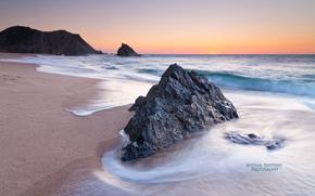 утро, берег, Португалия, море