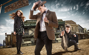 Elfte Doktor, Amy Pond, Doctor Who, Arthur Darvill, Matt Smith, Karen Gillan, Serie, Sheriff, Hut, westlich, Rory Williams