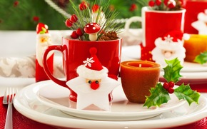 bump, leaves, candle, fork, Santa Claus, branch, Berries, mug, Tree, New Year, dishes