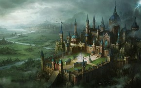 lightning, valley, view, castle, fortress, river, Art