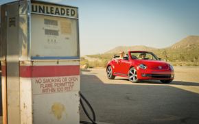 Volkswagen, ragazza, rosso, Cacti, carica, auto, America, distributore di benzina, scarafaggio, tipo, cabriolet, strada