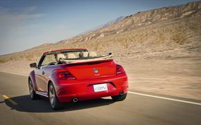 velocit, Volkswagen, strada, cabriolet, rosso, Montagne, scarafaggio, auto, disposizione