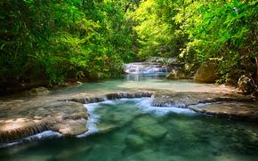泰国, 河, 瀑布, 青菜, 树, 叶子