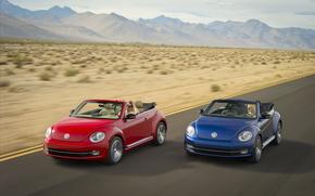 movimiento, cabriol, azul, carretera, rojo, coches, Volkswagen, velocidad, Montaas, escarabajo