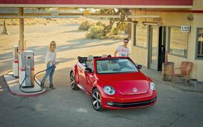 distributore di benzina, scarafaggio, tipo, Volkswagen, rosso, carica, ragazza, occhiali, biondo, cabriolet, auto