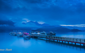 prince hsieh, Mountains, clouds, fog, bay, wharf, Boat