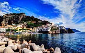 sea, bay, city, beach, stones