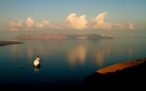mare, isola, nuvole, nave, Barche