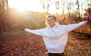 белая, улыбка, солнце, радость, куртка, девушка, природа