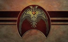 bandiera, uccello, ali, muro, stemma