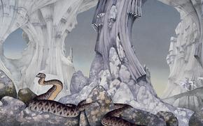 Riders, stones, rocks, Snake, Caves, Art