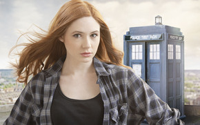 TARDIS, girl, actress, redhead, Police Booth, Karen Gillan, Doctor Who, view, series