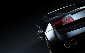ламборгини, тёмный фон, ламборджини, Lamborghini, чёрная, галлардо