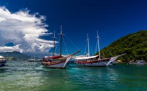 море, яхты, вода