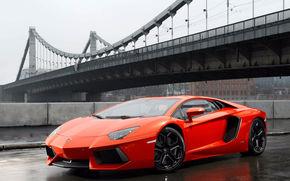 Lamborghini, rain, bridge, asphalt, Lamborghini, fencing