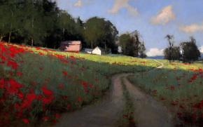 paesaggio, strada, alberi, sentiero, nuvole, insediamento, traccia, estate, cielo, campo, Papaveri, casa, Arte, immagine
