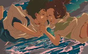 дух реки, небо, облака, мальчик, слезы, унесенные призраками, хаку, девочка, хаяо миядзаки, аниме, арт, тихиро, падение