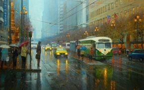 city, road, lights, Street, picture, Flags, lights, rain, people, America, Art, traffic light, Umbrellas, cars, taxi, tram, Wire