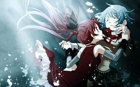 Girls, Art, water, hairpins, anime, bow, Girl witch Madoka