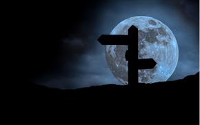 темно, указатель, ночь, луна, стрелки