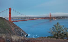 Сан-Франциско, мост, вечер, огни