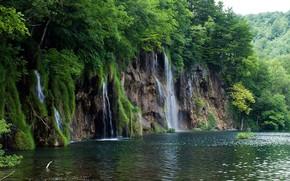 водопад, каскад, река, горы широкоформатные обои