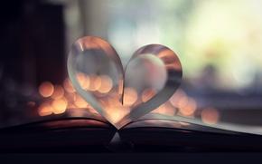 bokeh, Pgina, libro, corazn, libro