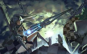 взгляд, цепи, птица, оружие, стрелок с черной скалы, крест, девушка, грусть