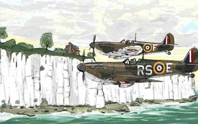 рисунок, авиация, самолёты, британские, вторая мировая война