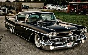купе, Cadillac, кадиллак, классика, черный