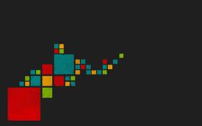 green, Blue, gray background, squares, orange, red